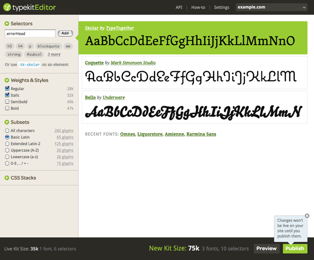 TypeKit Editor interface