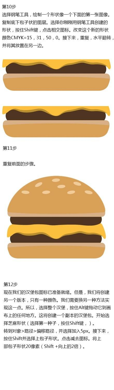 Illustrator设计汉堡图标